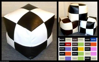 FAUX LEATHER CHECK FOOTSTOOLS