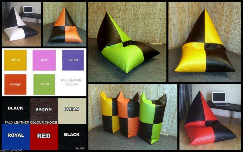 FAUX LEATHER PYRAMID BEANBAG CHAIR
