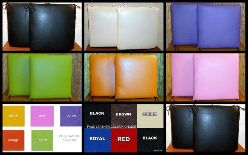 FAUX LEATHER SQUARE SEAT CUSHIONS